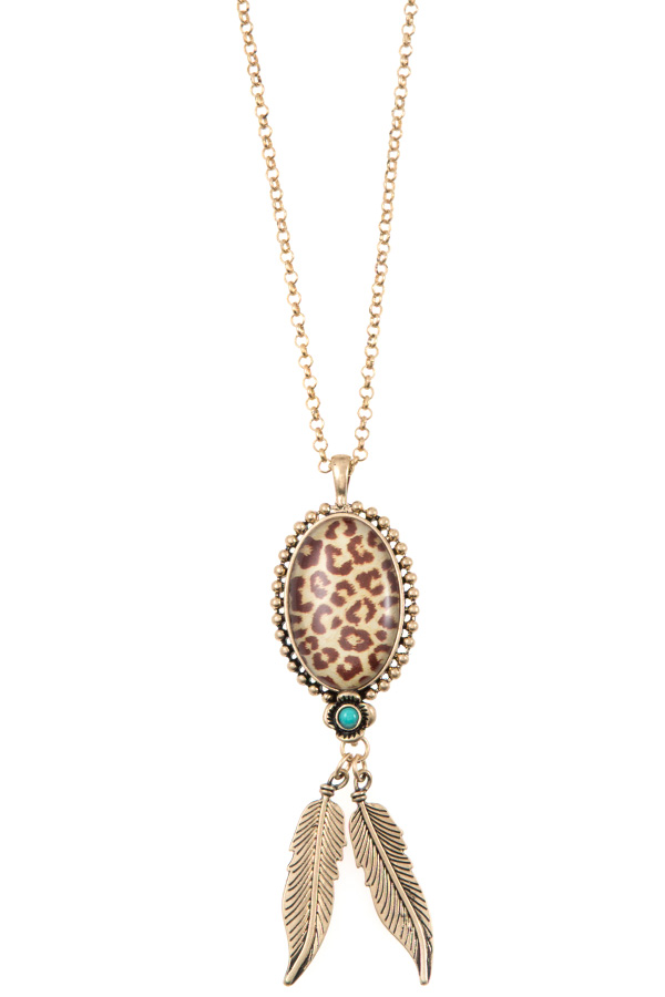 ANIMAL PRINT PENDANT LEAF LINK LONG NECKLACE SET