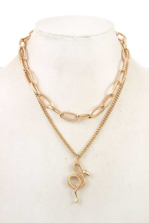 Chain Layered with Snake Pendant Chunky Gold Necklace