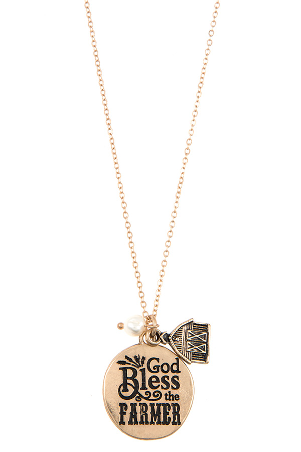 GOLD BLESS THE FARMER DISK PENDANT NECKLACE SET