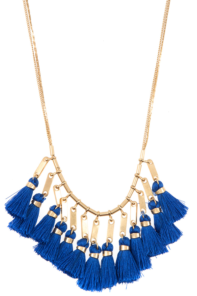 Double Layered Multi Tassel Dangle Necklace