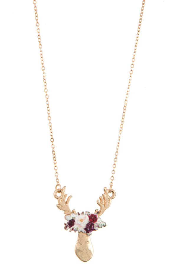 FLORAL REINDEER PENDANT NECKLACE SET