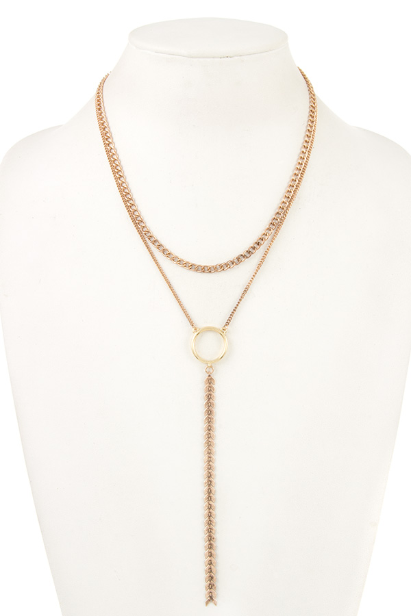 CHAIN LAYERED RING PENDANT NECKLACE