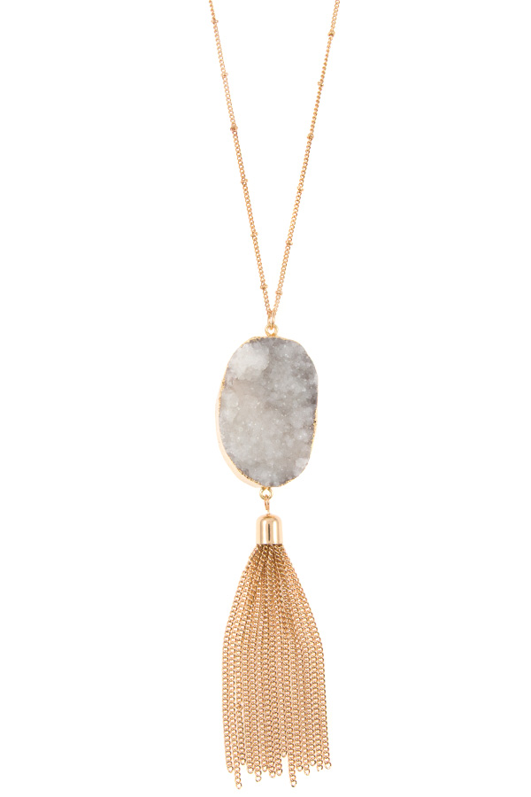 DRUZY STONE WITH CHAIN TASSEL PENDANT NECKLACE