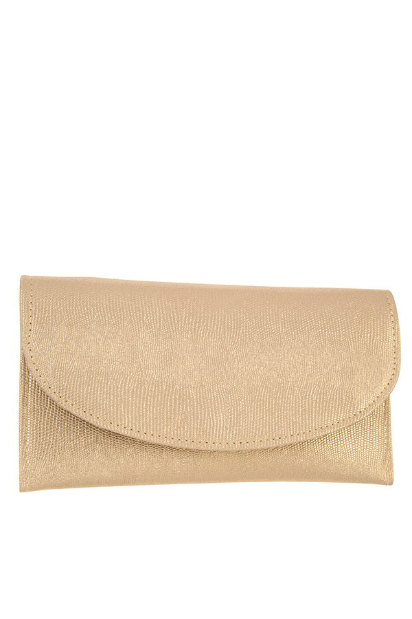 METALLIC ACCENT PATTERN FLAT CLUTCH BAG