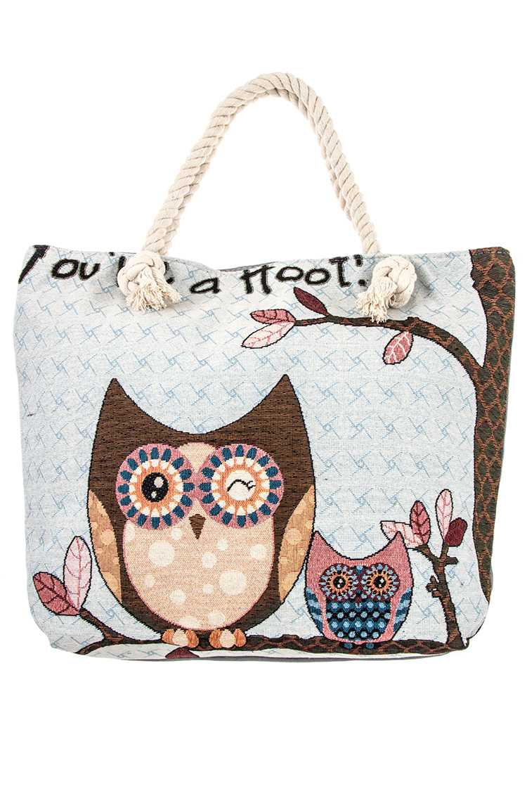 """You're a Hoot"" Sitting Owl's on Tree Branch Tote Bag Print"