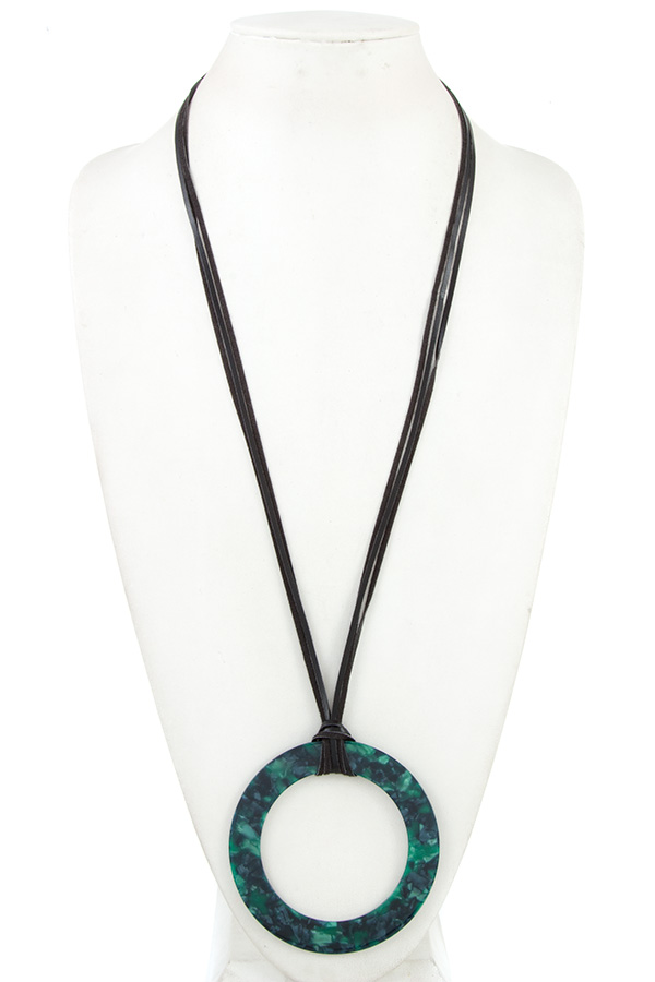 ELONGATED MULTI FAUX CORD ACETATE RING PENDANT NECKLACE