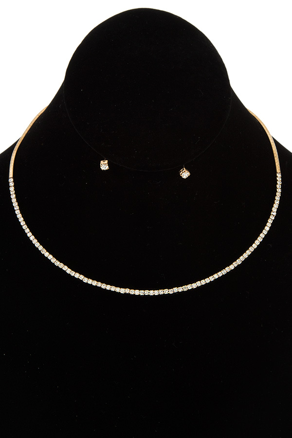 Crystal Lined Simple Necklace Set
