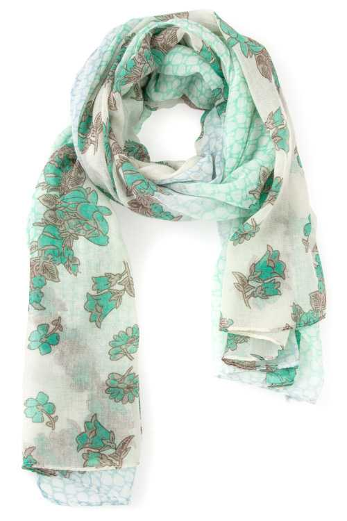 Floral Print Detailed Oblong Scarf