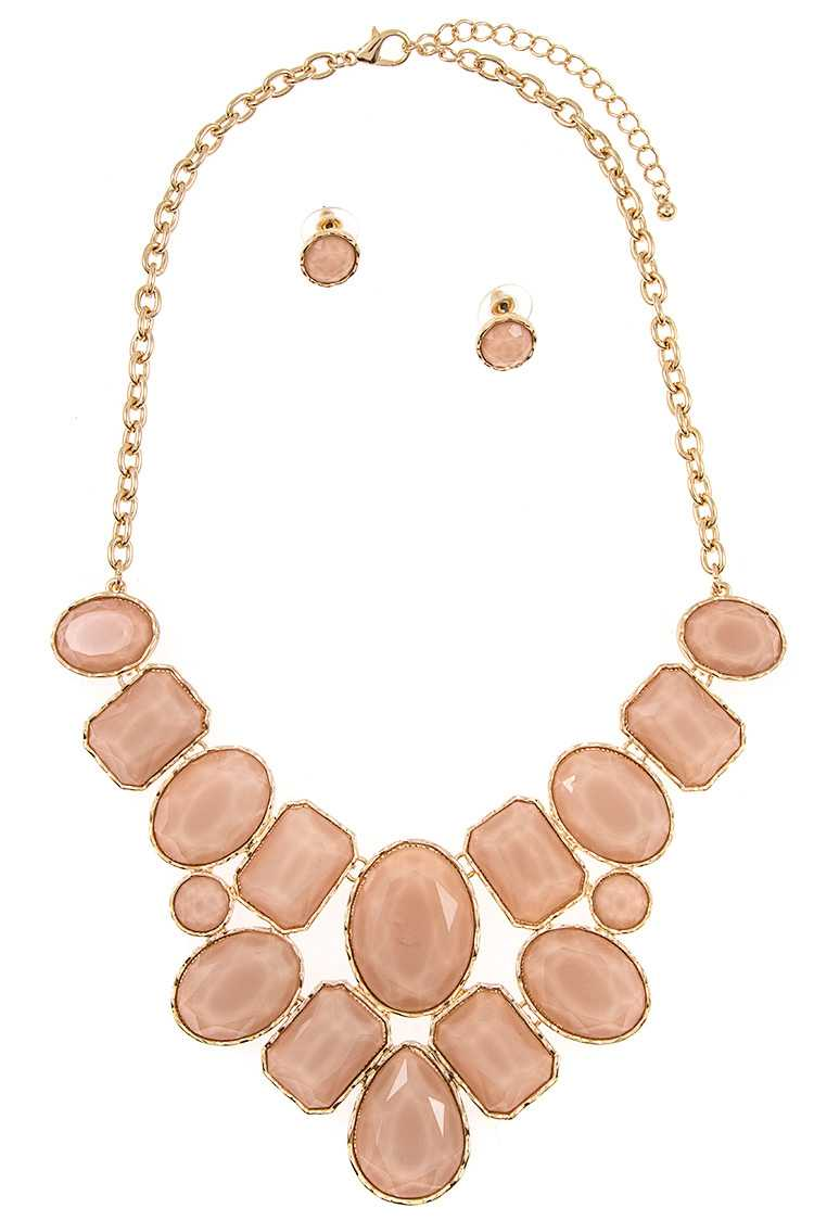 Faceted Acrylic Stone Bib Necklace Set