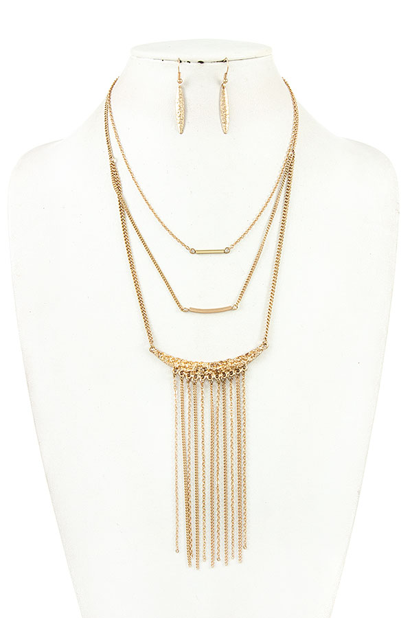 LAYERED BAR PENDANT CHAIN TASSEL NECKLACE SET