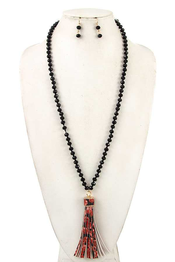 Beads with Tassel Long Necklace
