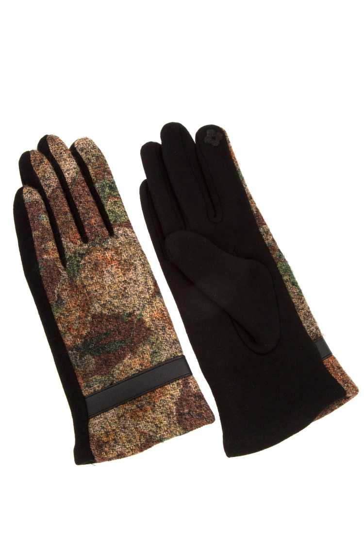 Splattered Color Faux Leather Line Accent Glove