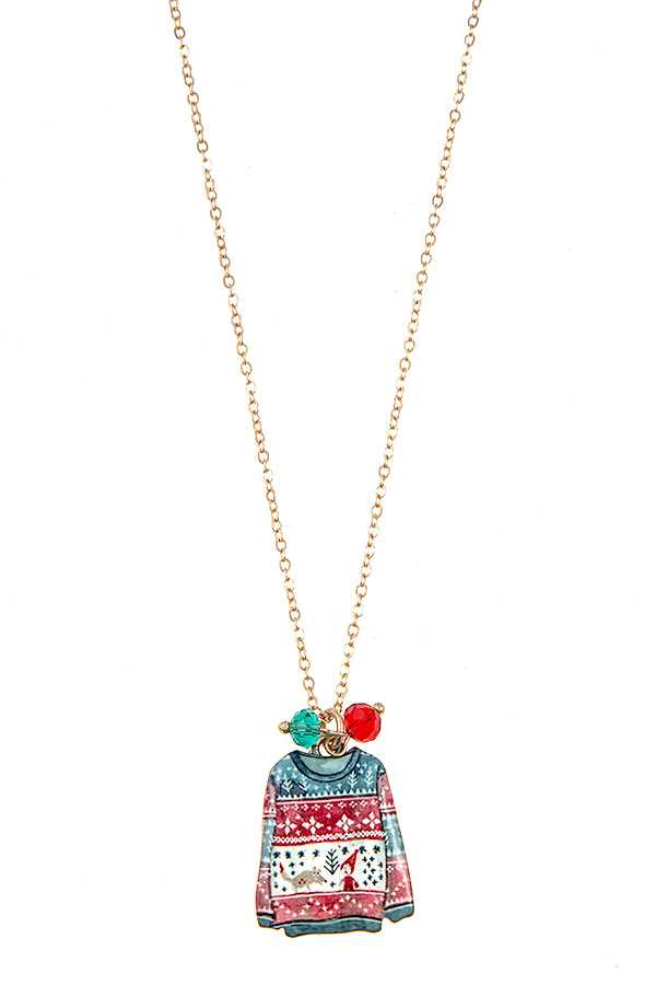 CHRISTMAS SWEATER PENDANT NECKLACE