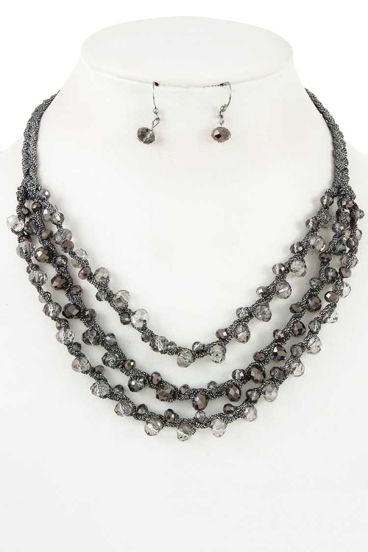 Layered Glass Bead Necklace Set