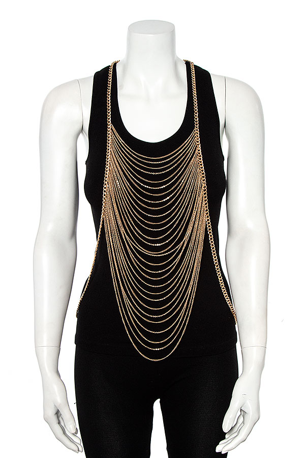 DRAPED MULTI CHAIN BODY JEWELRY