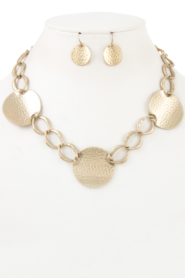 Hammered Chain Disk Necklace Set