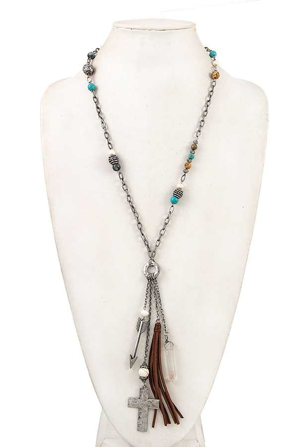 ELONGATED BEAD MULTI PENDANT NECKLACE