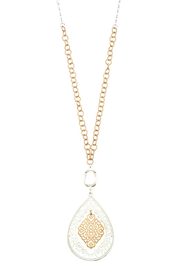 ELONGATED FILIGREE TEARDROP PENDANT LONG NECKLACE