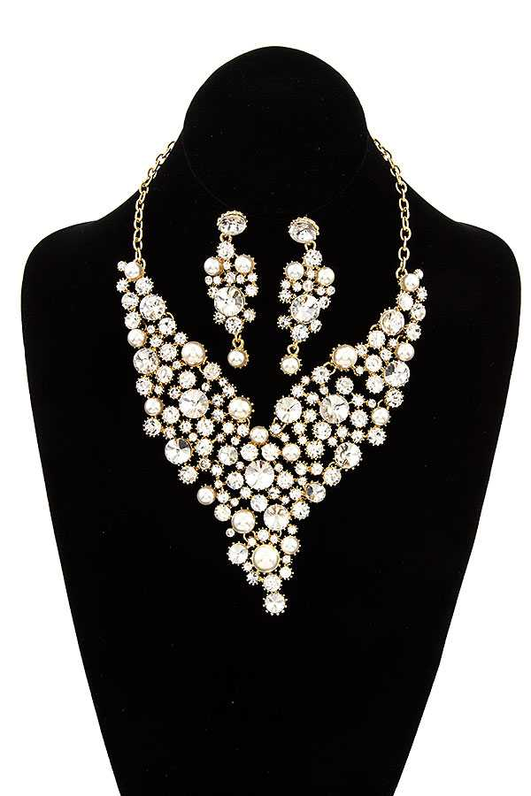 CRYSTAL GEM BIB EVENING NECKLACE SET