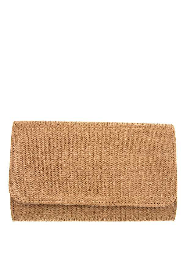 RECTANGULAR FASHION STRAW CLUTCH BAG
