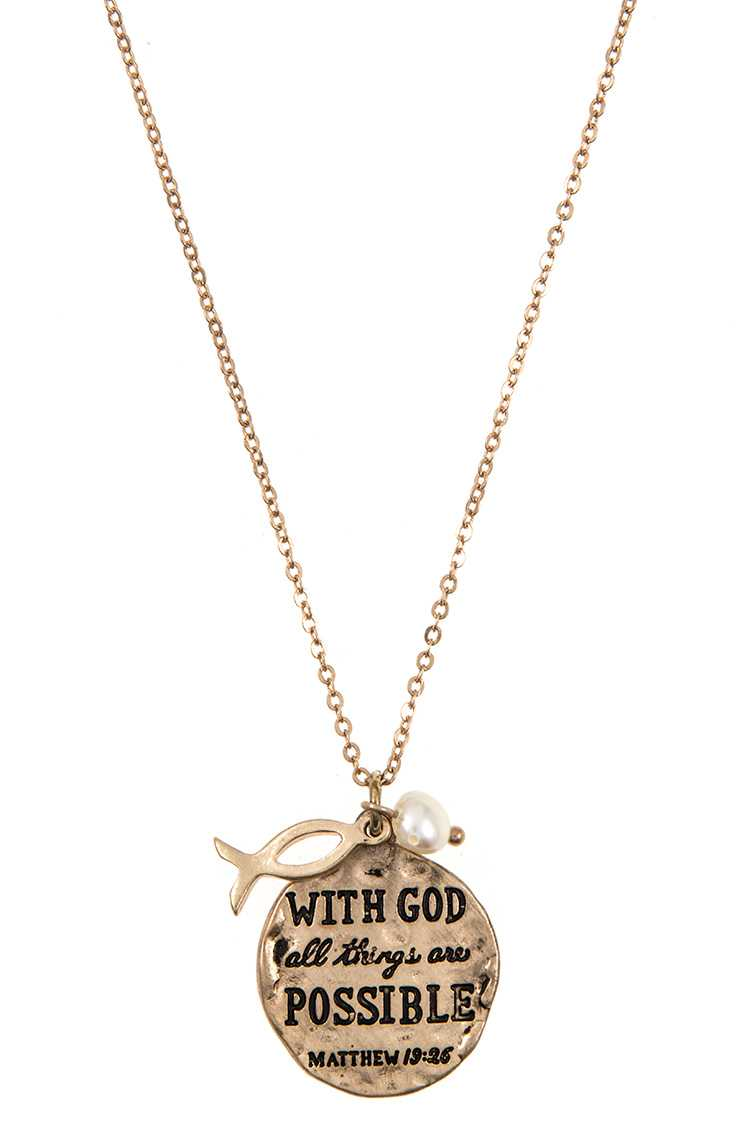 """Matthew 19:26"" Message Disk Pendant Necklace Set"