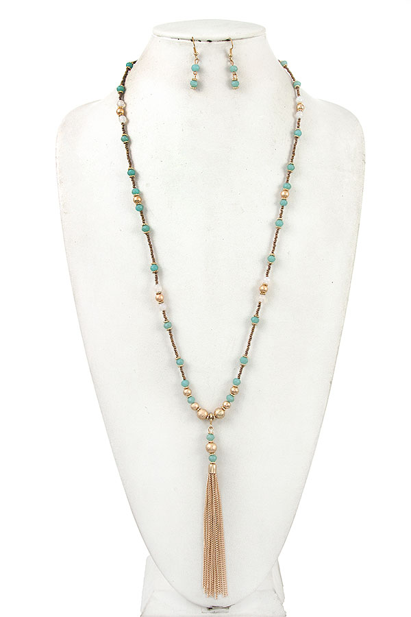 Elongated Mix Bead Station Chain Tassel Necklace Set
