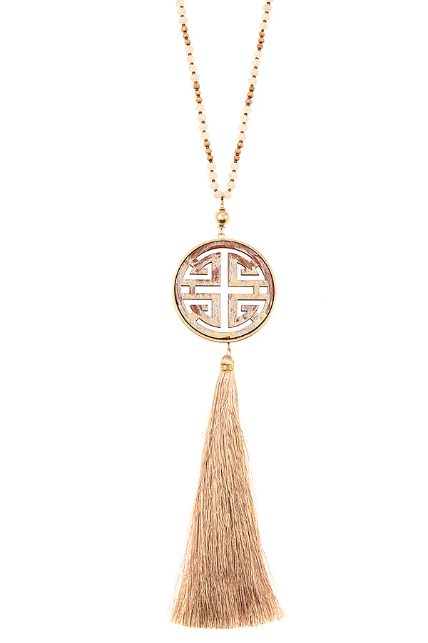 CHINESE SYMBOL BEADED TASSEL NECKALCE SET