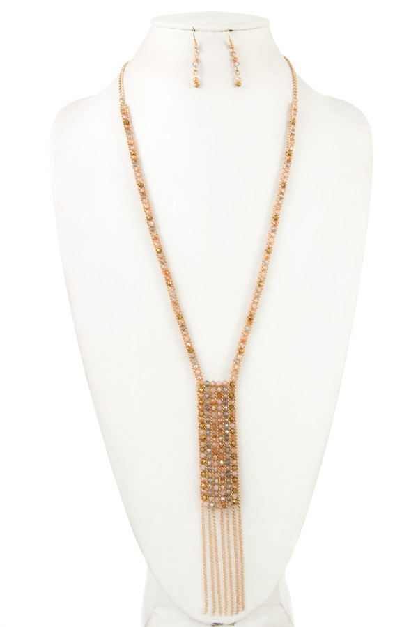 Crystal Line Stairs Tassel Necklace Set