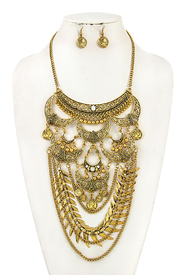 TIERED ORNATE DISK DANGLE BIB NECKLACE SET
