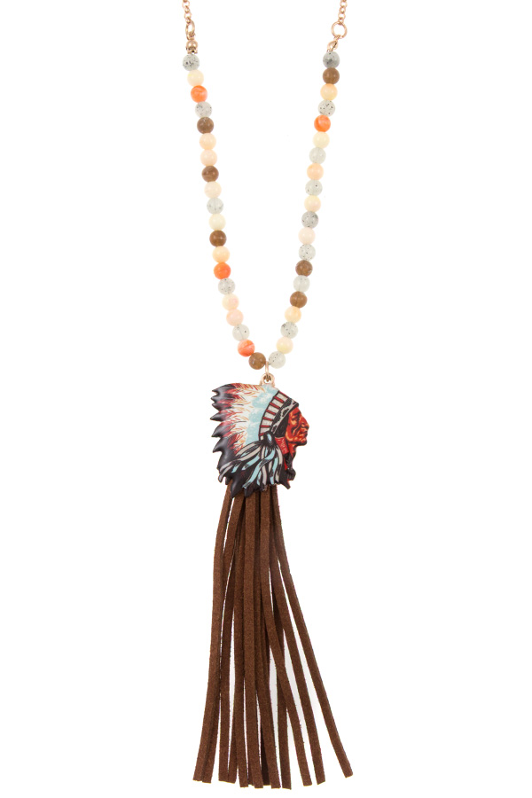 INDIAN CHIEF FAUX SUEDE TASSEL PENDANT  BEAD NECKLACE SET