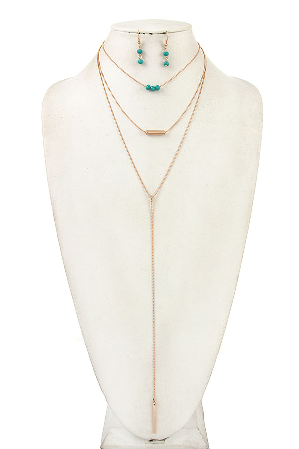 ELONGATED BEADED CHAIN PENDANT NECKLACE SET