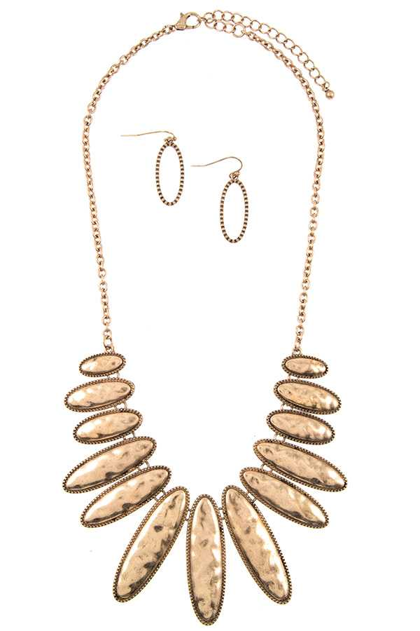 Hammered Oblong Oval Fringe Bib Necklace Set