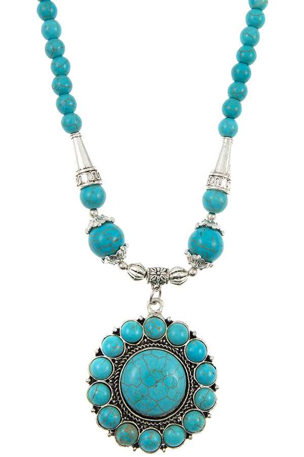Floral Gemstone Pave Bead Necklace Set