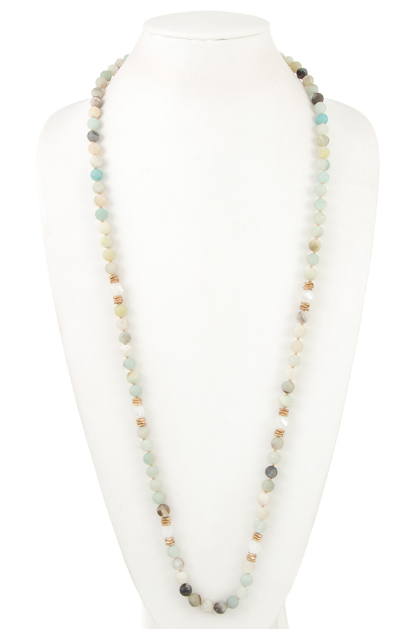 ELONGATED SEMI PRECIOUS BEAD NECKLACE