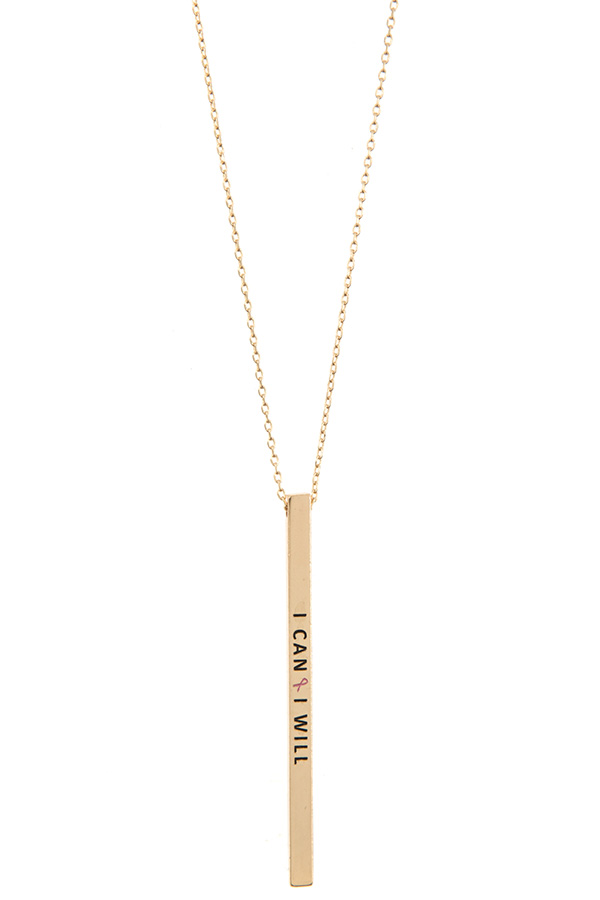 I CAN 🎗️ I WILL Bar Pendant Necklace