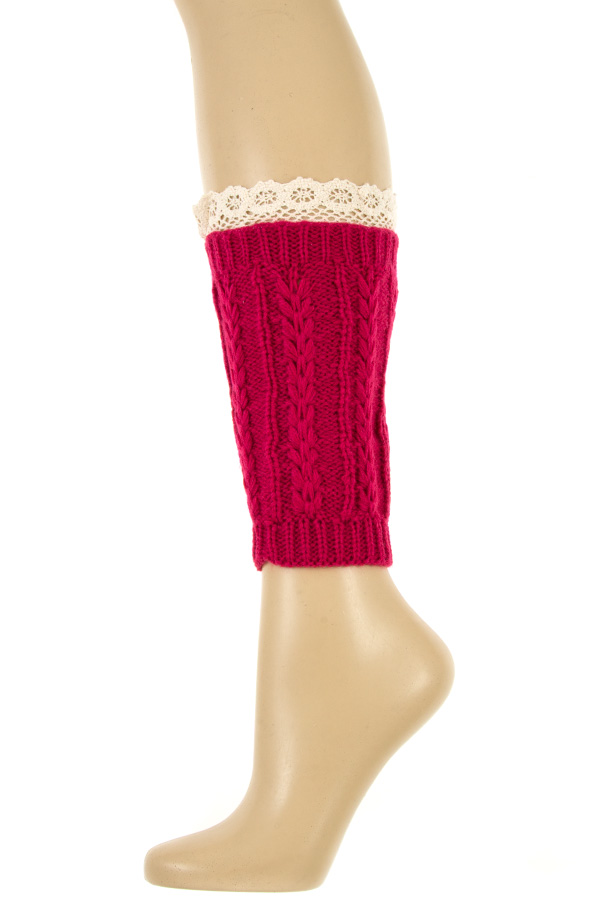 CABLE KNIT CROCHER LACE TOP LEG WARMER
