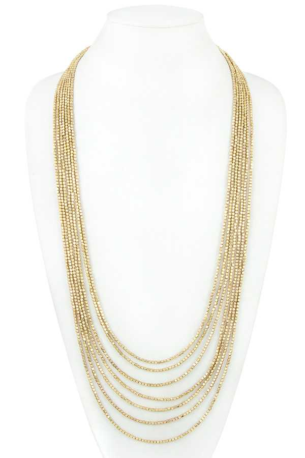 Elongated Multi Row Bead Necklace