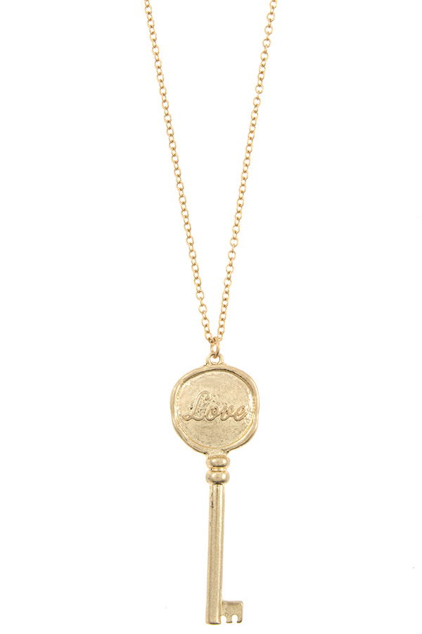 LOVE ETCHED KEY PENDANT NECKLACE