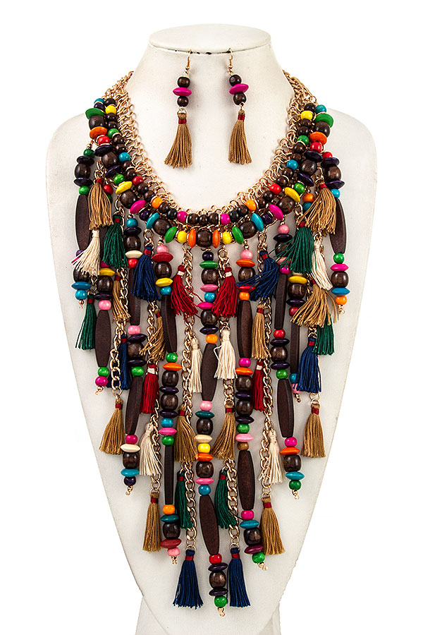MULTI COLOR BEAD TASSEL CHUNKY STATEMENT NECKLACE SET