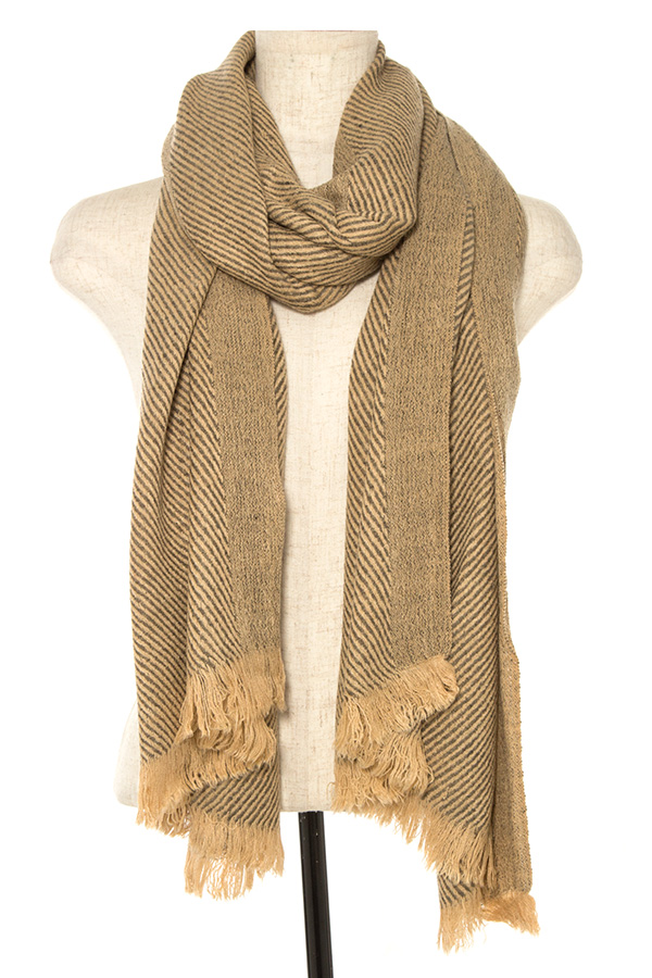 TWO TONE STRIPPED OBLONG SCARF