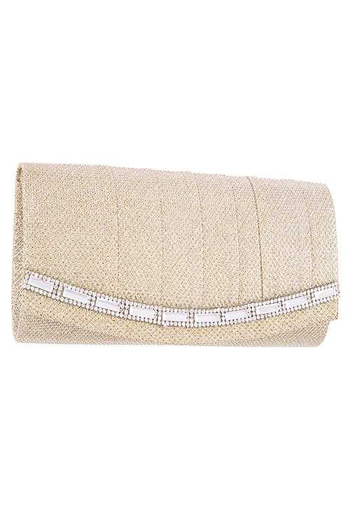 Aligned Crystal Evening Clutch Bag