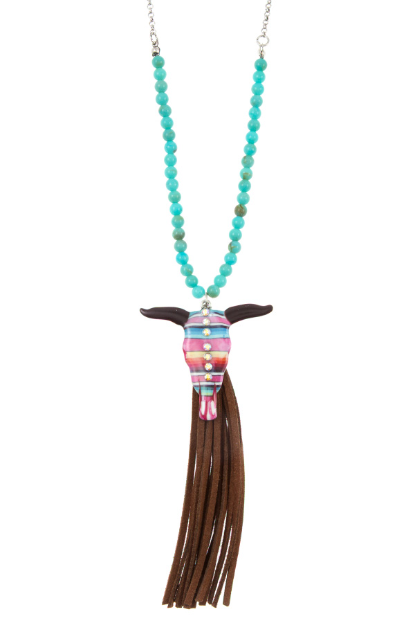 BEAD TASSEL BULL PENDANT NECKLACE