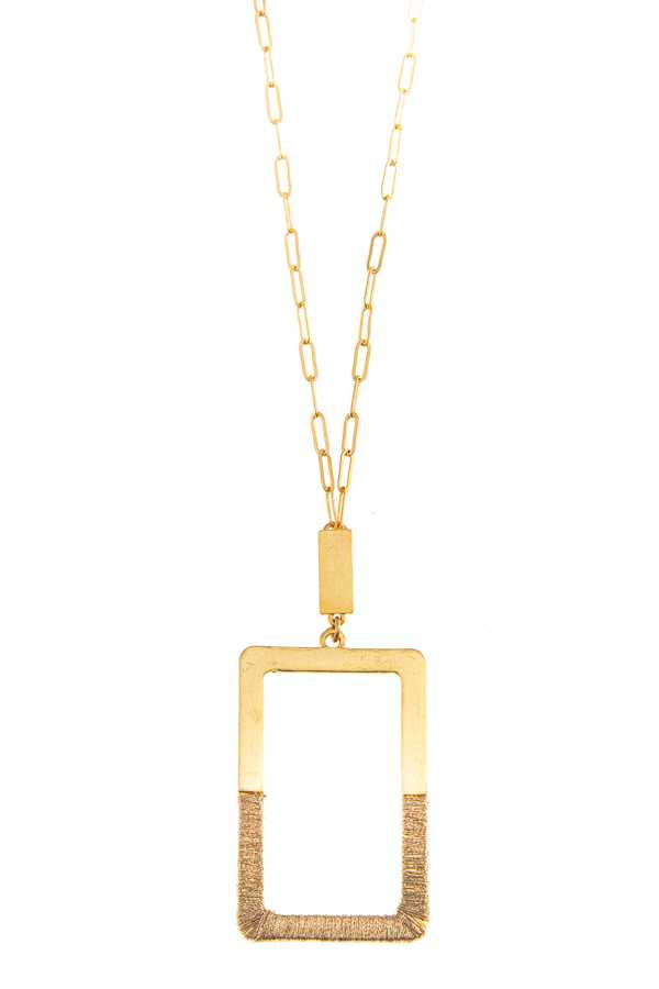 SQUARE FRAME LONG NECKLACE