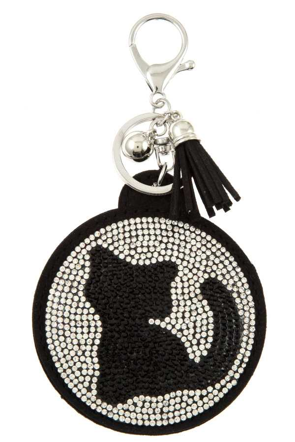 RHINESTONE KITTY ACCENT KEYCHAIN