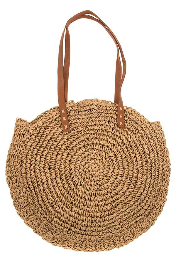 ROUND RAFFIA STRAW WOVEN SHOULDER BAG