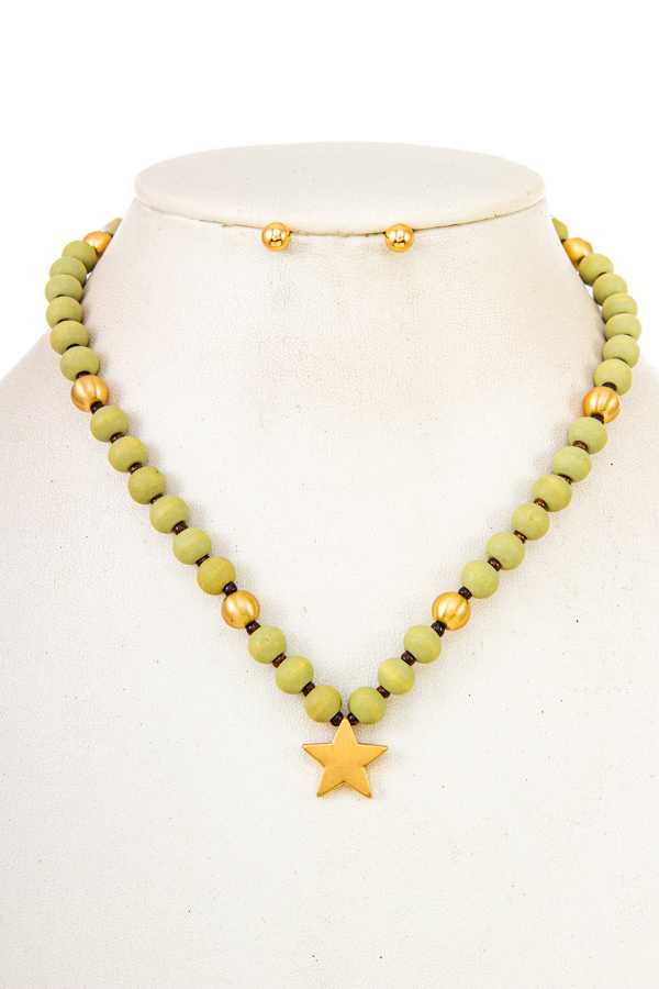 Wood Bead with Star pendant Necklace
