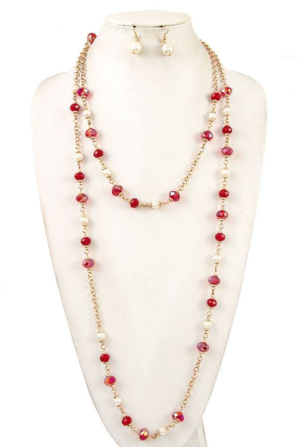 FACETED GLASS AND PEARL BEAD LONG NECKLACE SET