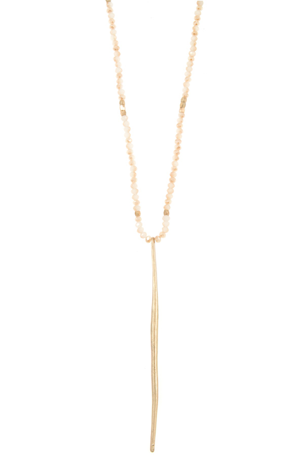 GLASS BEAD WAVED BAR PENDANT LONG NECKLACE