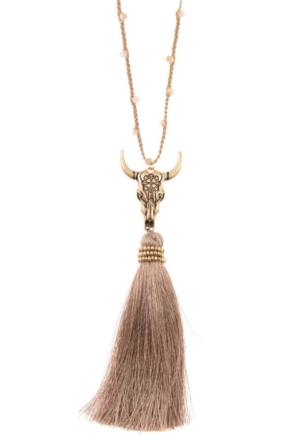 ETCHED BULL TASSEL PENDANT CORD BEAD LONG NECKLACE