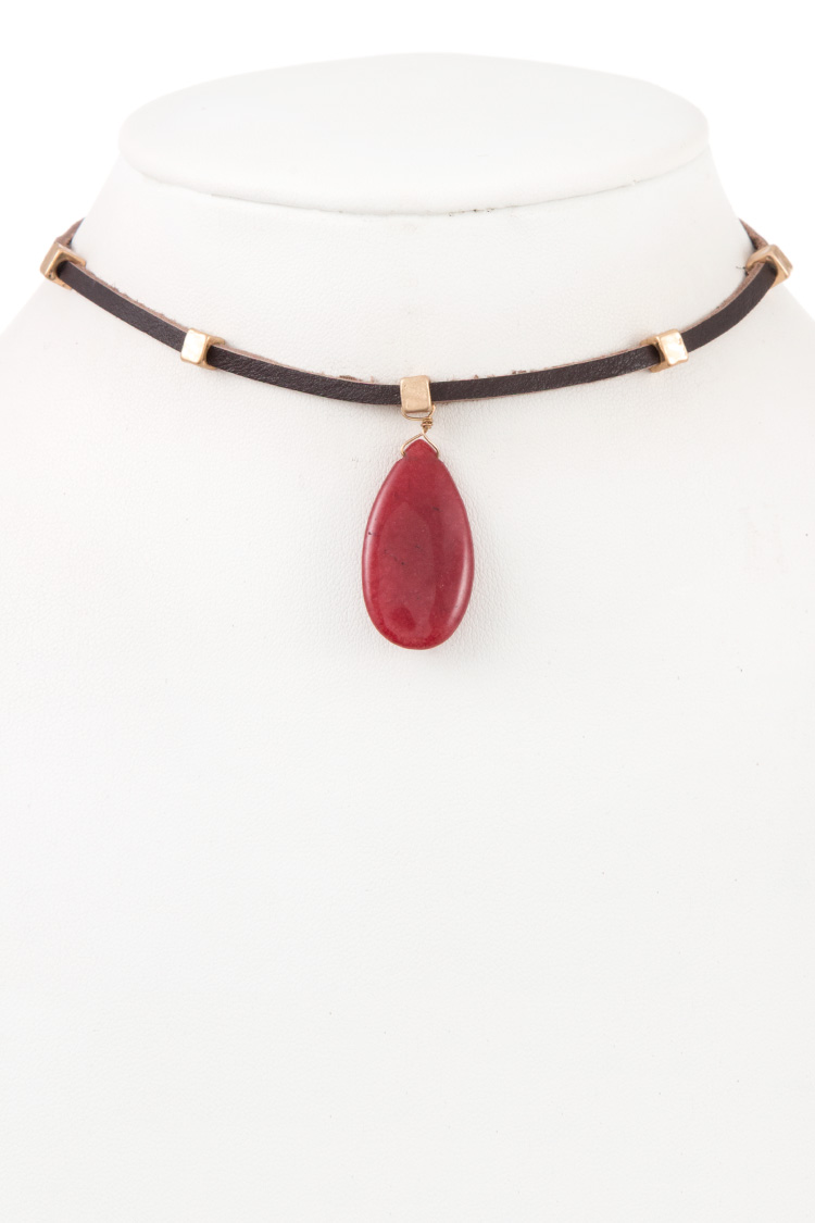 Genuine Leather Teardrop Stone Pendant Choker Necklace